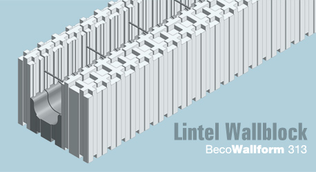 3D isometric drawing of a Wallform 313 ICF lintel block