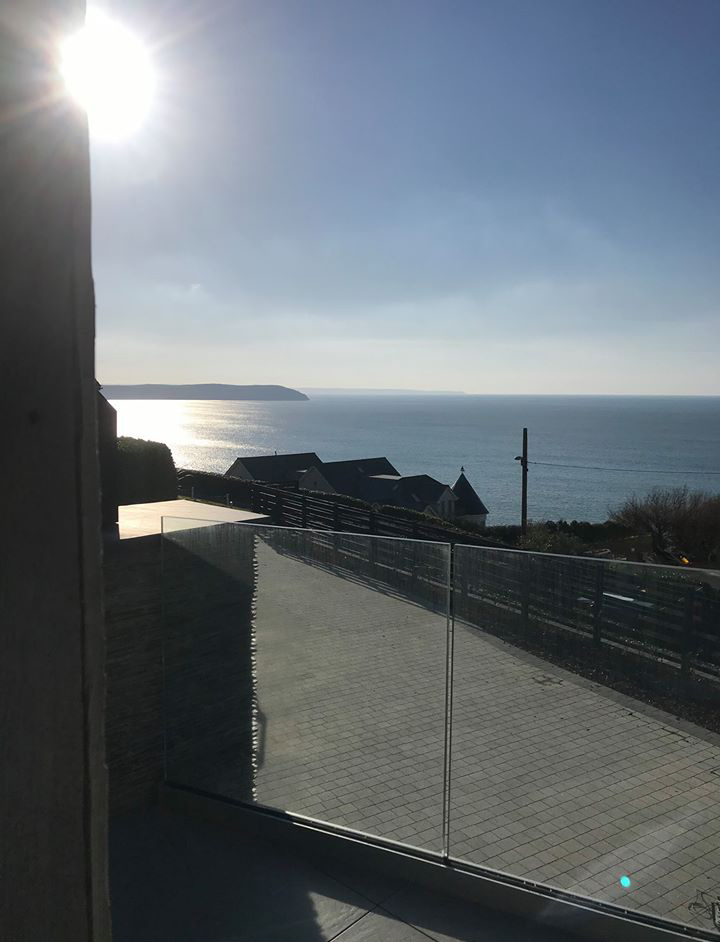 View of the sea from a balcony