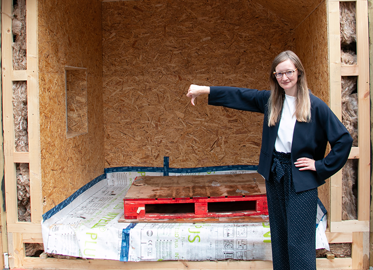 PHT research & policy director, Sarah Lewis: Thumbs down at the Scottish Building Standard box