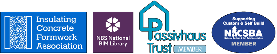 BecoWallform membership logos: Insulating Concrete Formwork Association, NBS National BIM Library, Passivhaus Trust and NaCSBA