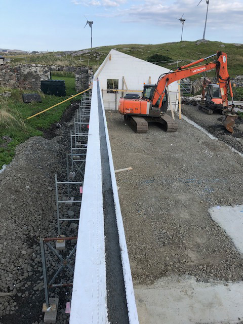 Concrete placed inside the Wallform up to wallplate level