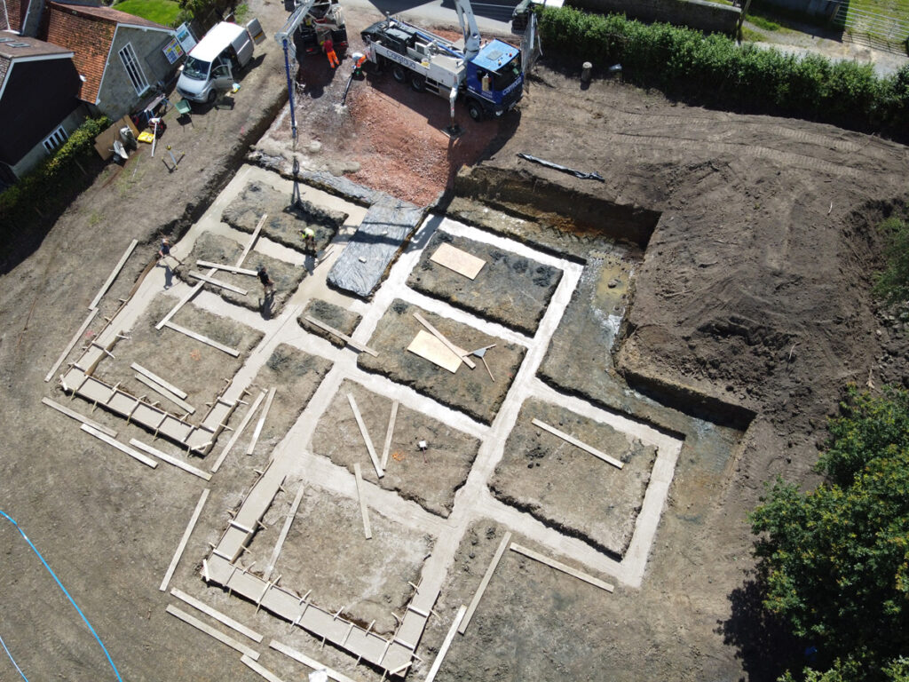 Concrete poured into trenchfill foundations