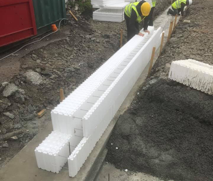 First two courses of Wallform 438 ICF forms are laid