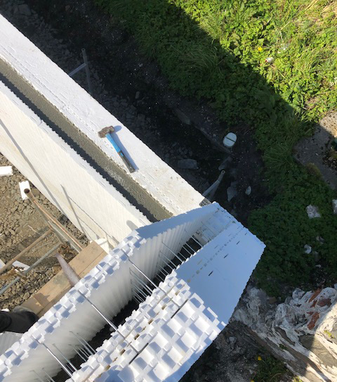 Looking down on the gable end which is now ready to be filled with concrete