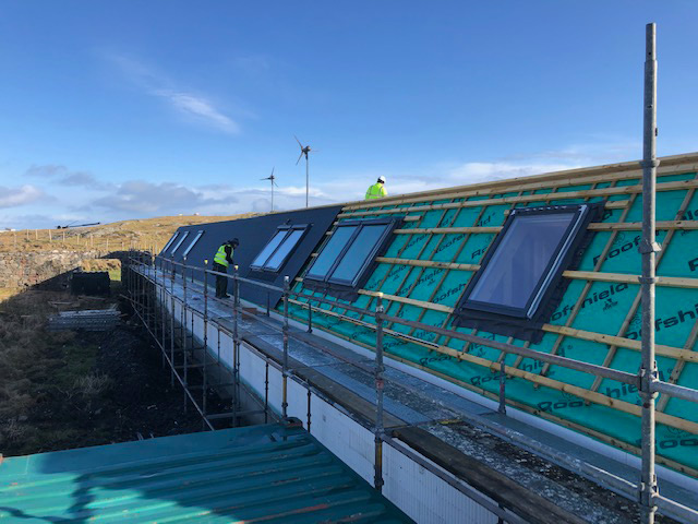 Roof cladding going on